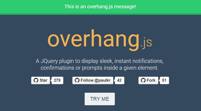 Overhang.js – A jQuery Plugin for Dropdown Notification Messages